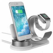 3-in-1 Hållare / Dockningsstation till iPhone, AirPods, Apple Watch - Silver