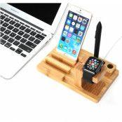 Itian Stativ och laddningsstation i trä till Apple Watch och iPhone