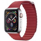 Qialino Magentic Läderloop Strap till Apple Watch 4 40mm / Watch 3 38mm - Röd