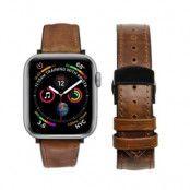 Qialino Watchband Äkta Läder till Apple Watch 4 44mm / Watch 3 42mm - Coffee