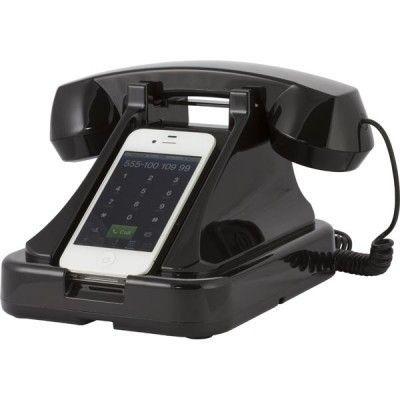 Retro Telefon till Iphone, Samsung, HTC, Sony mm (Svart)