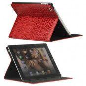 Folio Väska - iPad 2, iPad 3, iPad 4 - Crocodile Röd