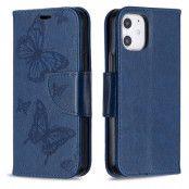 Imprint Butterfly Plånboksfodral iPhone 12 mini - Blå