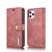 DG.MING Detachable Äkta Läder Plånboksfodral iPhone 12 Pro Max - Röd