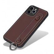 Läderskal med handstrap iPhone 12 Pro Max Brun