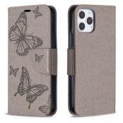 Imprint Butterfly Plånboksfodral iPhone 12 - Grå