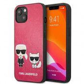 Karl Lagerfeld iPhone 13 Mini Skal Ikonik Karl & Choupette - Fuchsia
