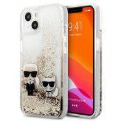 Karl Lagerfeld iPhone 13 Mini Skal Liquid Glitter Karl & Choupette - Guld