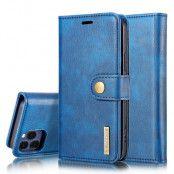 DG.MING Äkta Läder Plånboksfodral iPhone 13 Pro Max - Blå