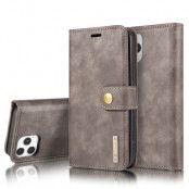 DG.MING Äkta Läder Plånboksfodral iPhone 13 Pro Max - Grå