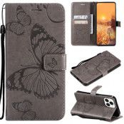 Fjärilar Plånboksfodral iPhone 13 Pro Max - Grå
