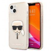 Karl Lagerfeld iPhone 13 Skal Glitter Karl`s Head - Guld
