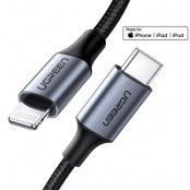 UGreen USB Type C lightning Kabel MFI Made iPhone 3 A 1 m Svart