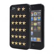 Studded leather pattern FlexiSkal till Apple iPhone 4S/4 (Golden Stars)