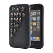 Studded leather pattern FlexiSkal till Apple iPhone 4S/4 (Half Skulls)