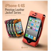Zenus Leather Jacket väska  till Apple iPhone 4S / 4  (Mustard)