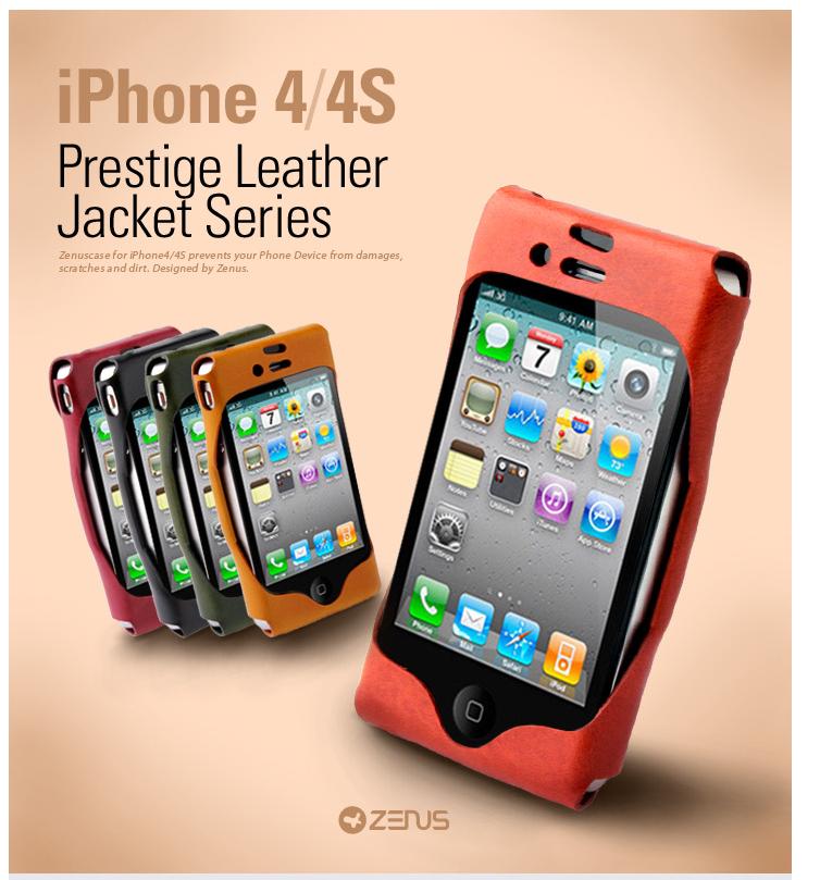 Zenus Leather Jacket väska till Apple iPhone 4S 4 (Mustard)