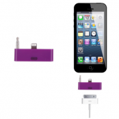 30 pin till lightning 3.5mm audio adapter till iPhone 5S/5 (Lila)