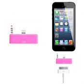 30 pin till lightning 3.5mm audio adapter till iPhone 5S/5 (Magenta)