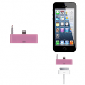 30 pin till lightning 3.5mm audio adapter till iPhone 5S/5 (Rosa)