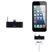 30 pin till lightning 3.5mm audio adapter till iPhone 5S/5 (Svart)