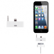 30 pin till lightning 3.5mm audio adapter till iPhone 5S/5 (Vit)