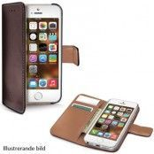 Celly Leather Wallet till iPhone 5/5s - Brun