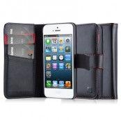 CoveredGear Äkta Läder Plånboksfodral till Apple iPhone 5/5S/SE - Svart