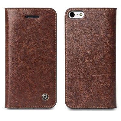 Qialino Äkta Läder Plånboksfodral till Apple iPhone 5/5S/SE (Brun)