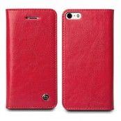 Exklusiv Äkta Läder Plånboksfodral till Apple iPhone 5S/5 (Röd)