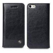 Exklusiv Äkta Läder Plånboksfodral till Apple iPhone 5/5S/SE (Svart)