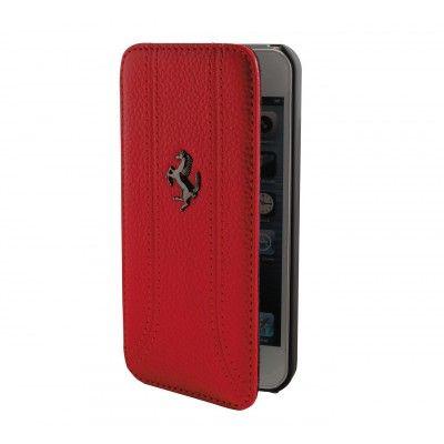 Ferrari Äkta läder mobilfodral till iPhone 5/5S - Röd
