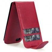 Flip mobilväska till iPhone 5S/5 med plats för 2st kort (Röd)