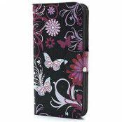 iPhone 5 / 5S / SE Plånbok Fodral - Fjärilar / Blommor