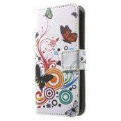 iPhone 5 / 5S / SE Plånbok Fodral - Fjärilar / Cirklar