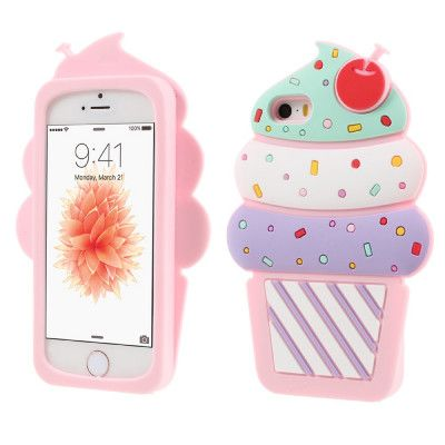 3D Cherry Ice Cream Case (iPhone 5/5S/SE) - Mörkrosa