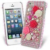 Princess Pink Bling Rose Skal till Apple iPhone 5S/5 + Skärmskydd