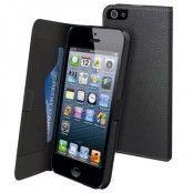Muvit Slim Flip väska till Apple iPhone 5S/5 - 5S + Displayskydd (Svart)