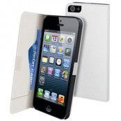 Muvit Slim Flip väska till Apple iPhone 5/5S/SE - 5S + Displayskydd (Vit)