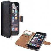 Celly Leather Wallet iPhone 6 Plus Svart + Skärmskydd