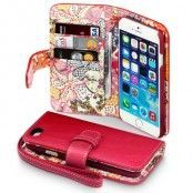 Lily Floral Plånboksfodral till Apple iPhone 6 (Röd)