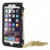 Mobilväska till iPhone 6 / 6S med guldkedja - Red Lip/Mustache