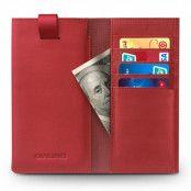 Qialino Universal Pouch Wallet i äkta läder - Röd