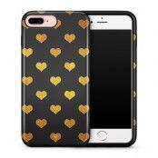 Tough mobilskal till Apple iPhone 7/8 Plus - Hjärtan - Guld/Svart