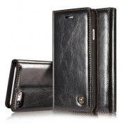 Caseme Oil Wax Plånboksfodral till iPhone 7 - Svart