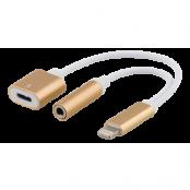 Epzi Lightning till 3,5 mm adapter, stödjer laddning och ljud, guld