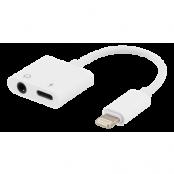 Epzi Lightning till 3,5 mm adapter, stödjer laddning och ljud, vit