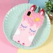 3D Sleepy Unicorn Case (iPhone X/Xs) - Rosa