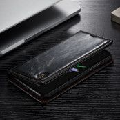 Caseme Oil Wax Plånboksfodral till Apple iPhone XS / X - Svart