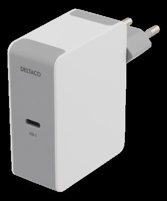 DELTACO USB C väggladdare, USB C port, 60 W, 1,5A Vit